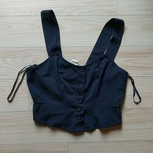 Free People Black button up crop top